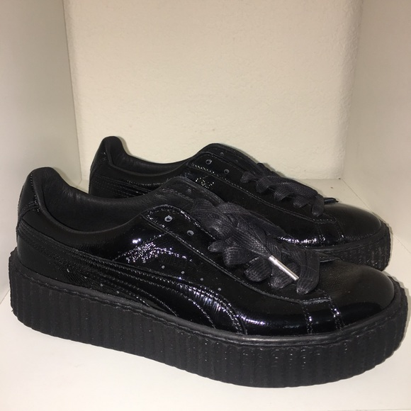 new arrival 1fa56 4b6f2 Puma Creeper Rihanna Fenty Cracked Leather Black